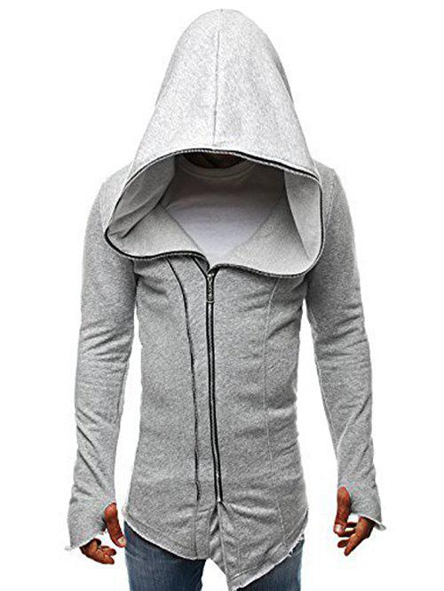 Cheap Zip Up Solid Color Asymmetry Hooded Jacket