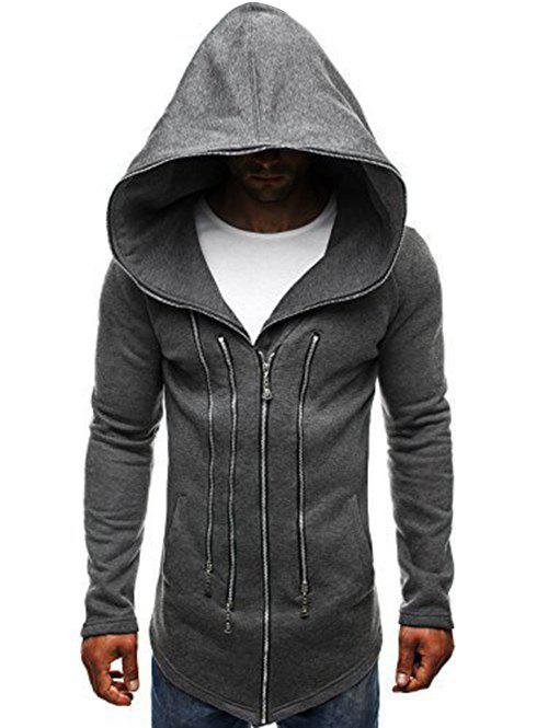 Hot Solid Color Zippered Hooded Jacket