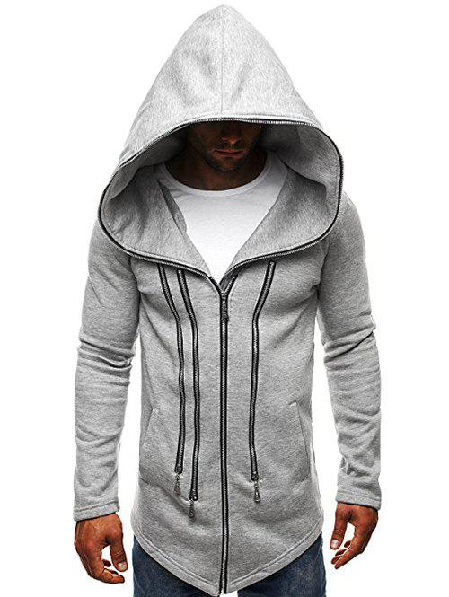 Sale Solid Color Zippered Hooded Jacket
