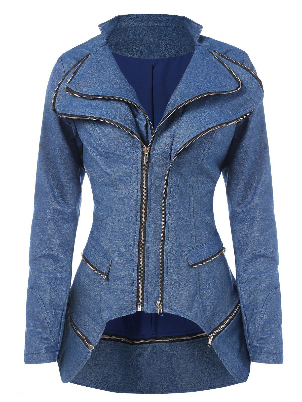 Sale Asymmetrical Zipper Layered Jacket