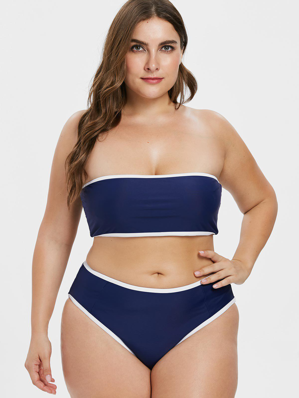 65ced09c805a9 26% OFF] Plus Size Contrast Trim Bikini Set | Rosegal