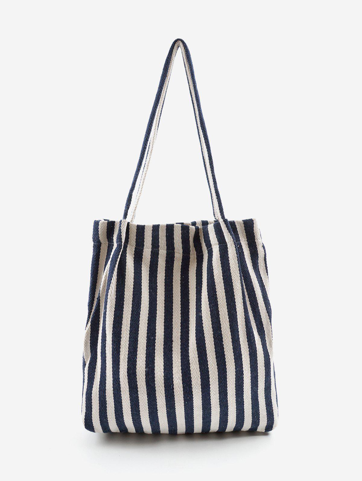Affordable Stripe Print Canvas Tote Bag