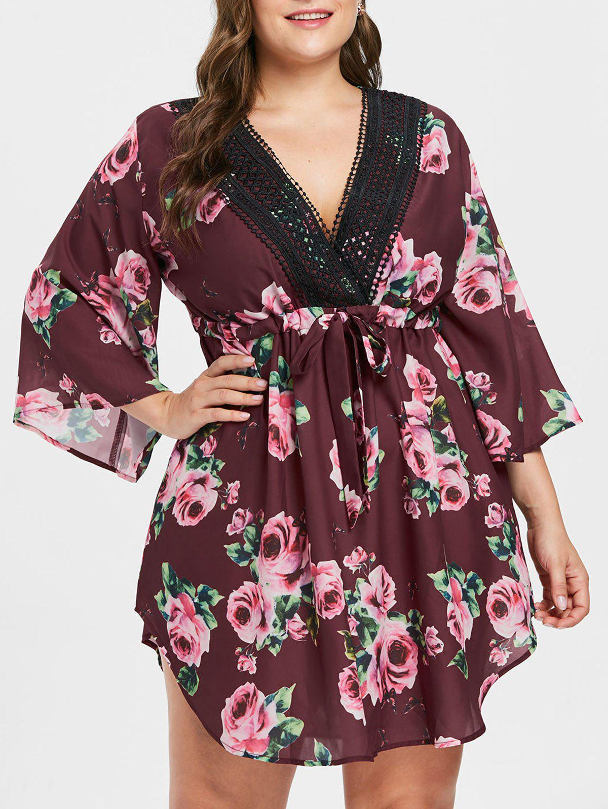 Trendy Drawstring Waist Plus Size Floral Print Dress