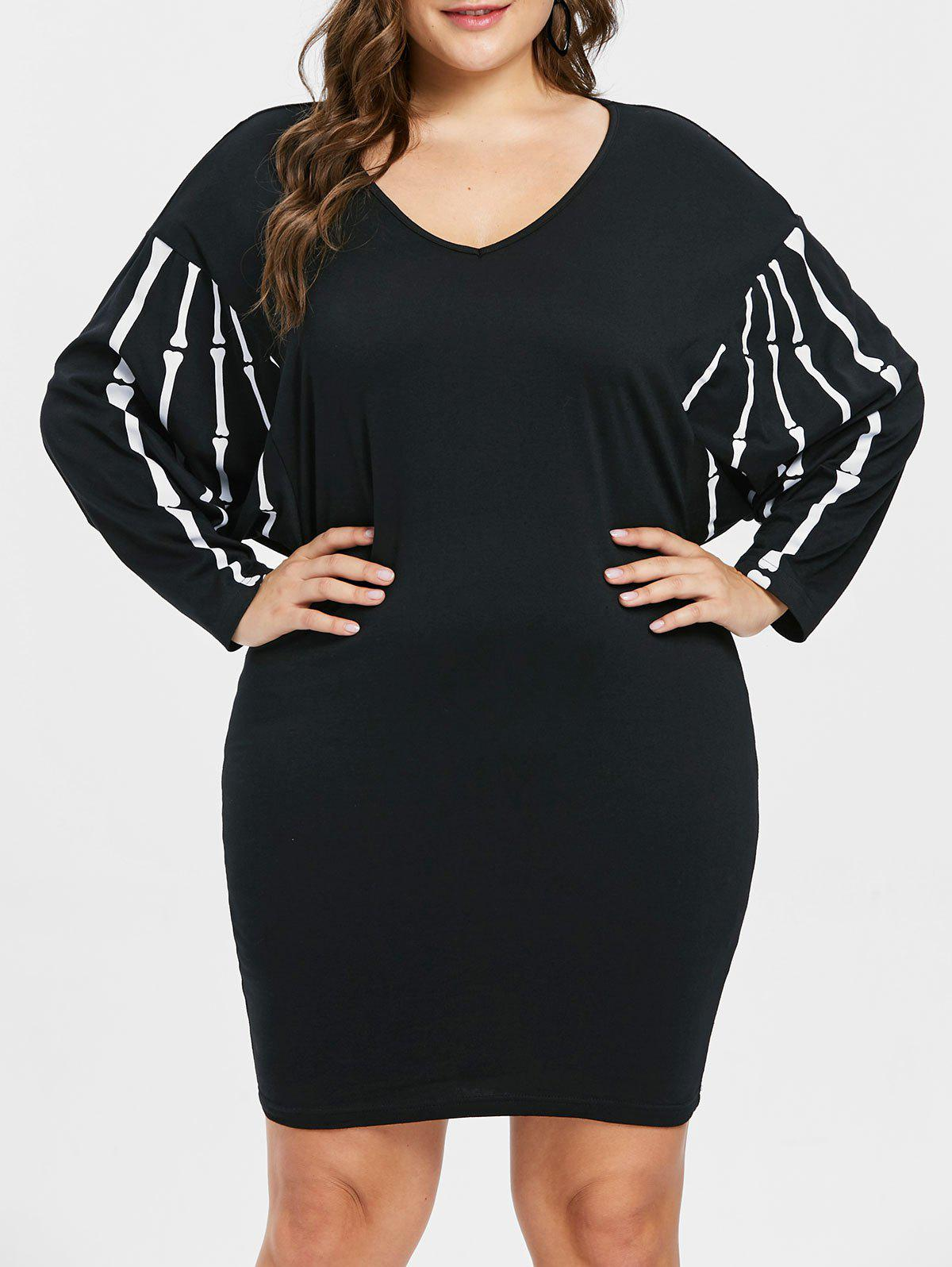 Store Halloween Dolman Sleeve Plus Size V Neck Dress