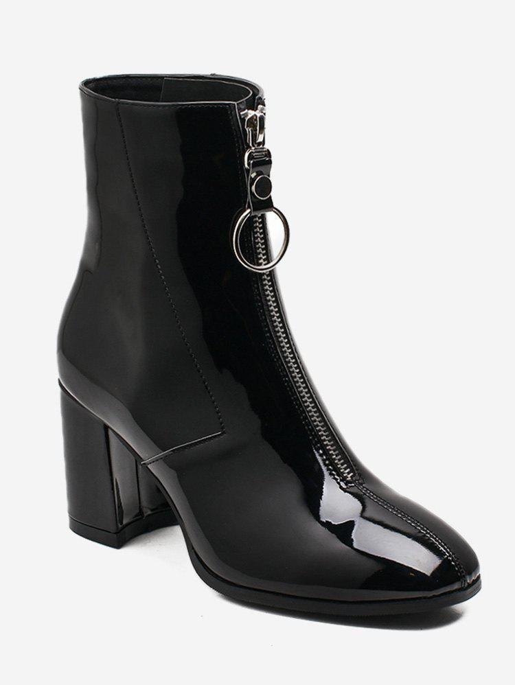 Fashion Zipper Front Patent Leather Ankle Boots