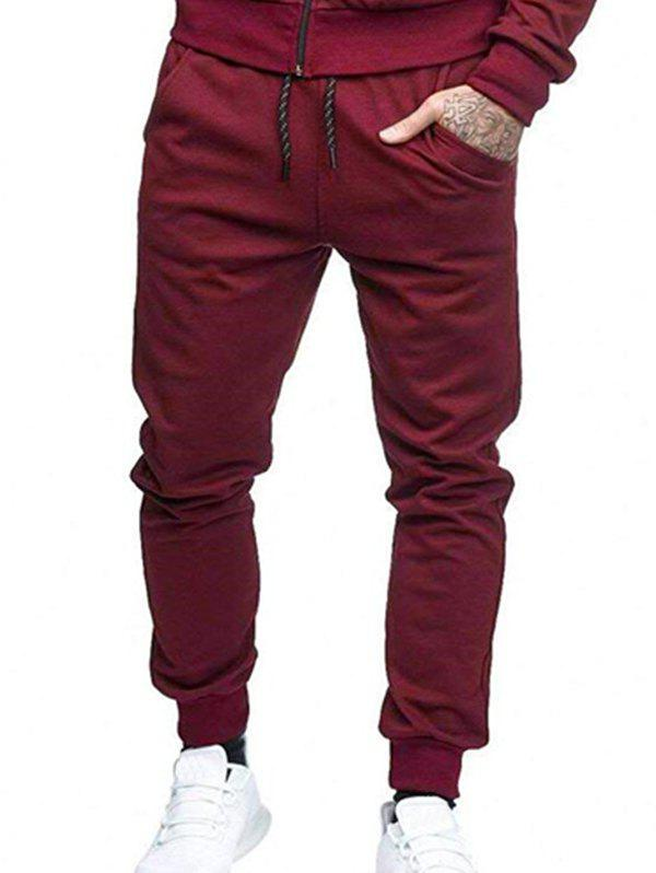 Fancy Solid Lateral Pockets Sports Jogger Pants