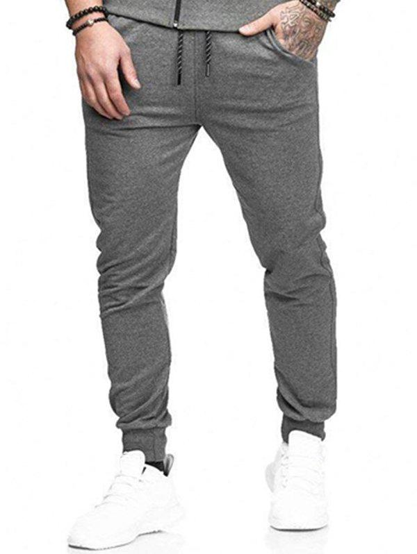 Discount Solid Lateral Pockets Sports Jogger Pants