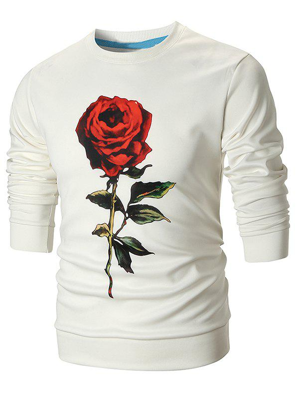 Sweat-Shirt Pullover avec Imprimé Rose 3D