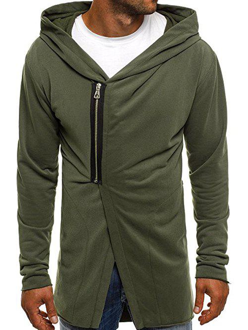 Online Casual Half Zip Design Asymmetry Hoodie