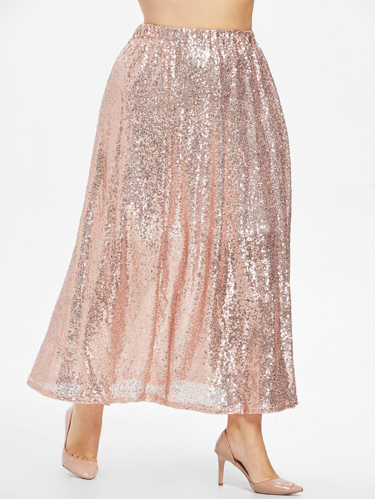 Store Plus Size Sequins Maxi Skirt