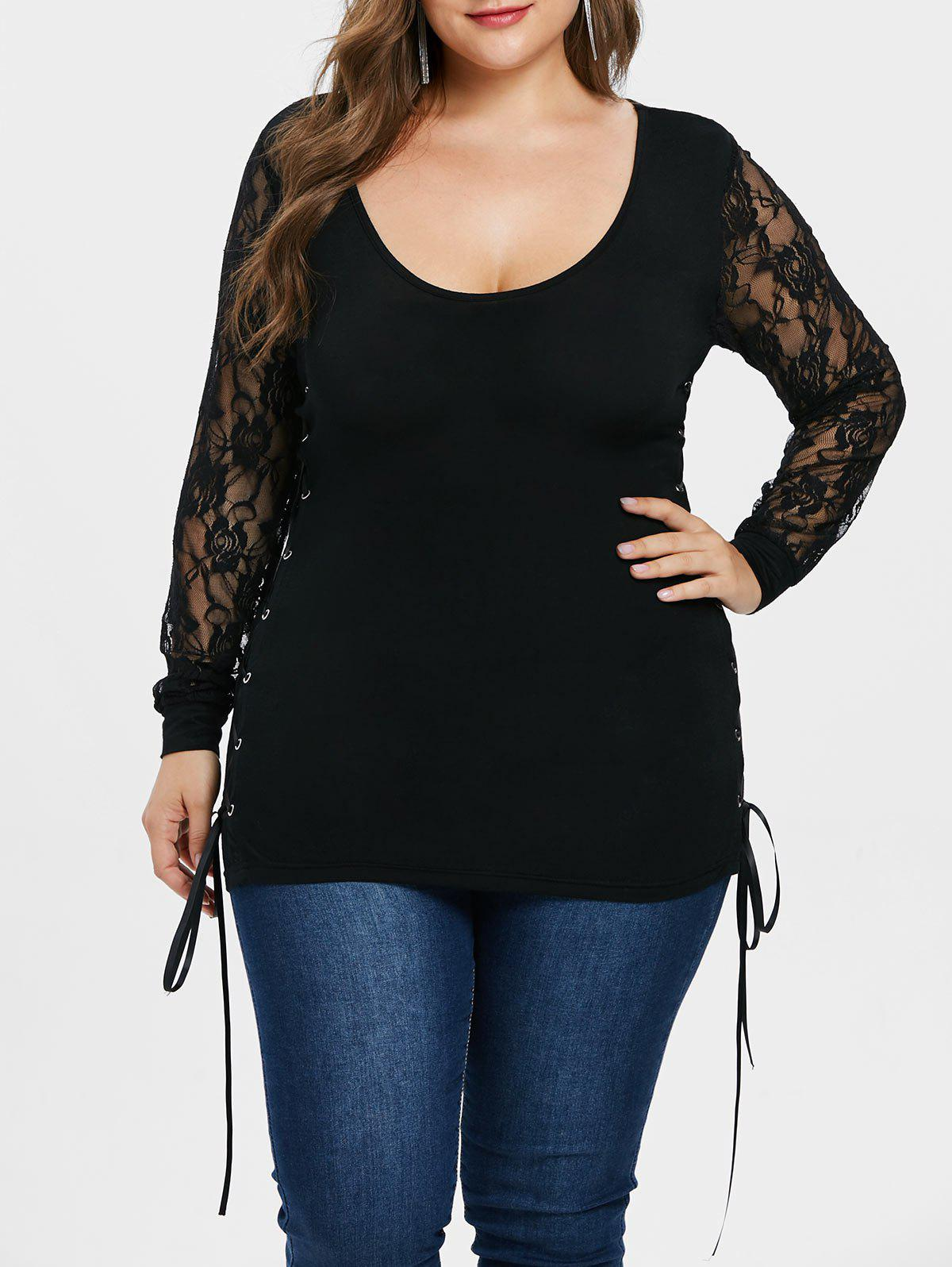 e5cd9ab8438 2019 Plus Size Lace Up Side T-shirt