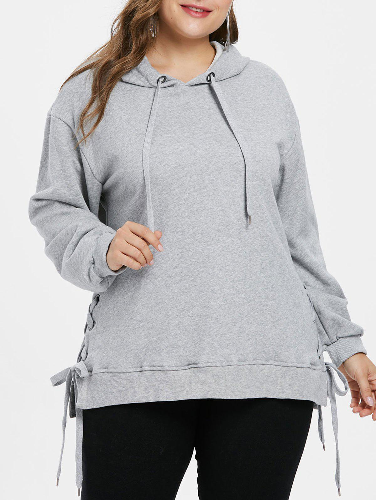 Trendy Plus Size Side Lace Up Hoodie
