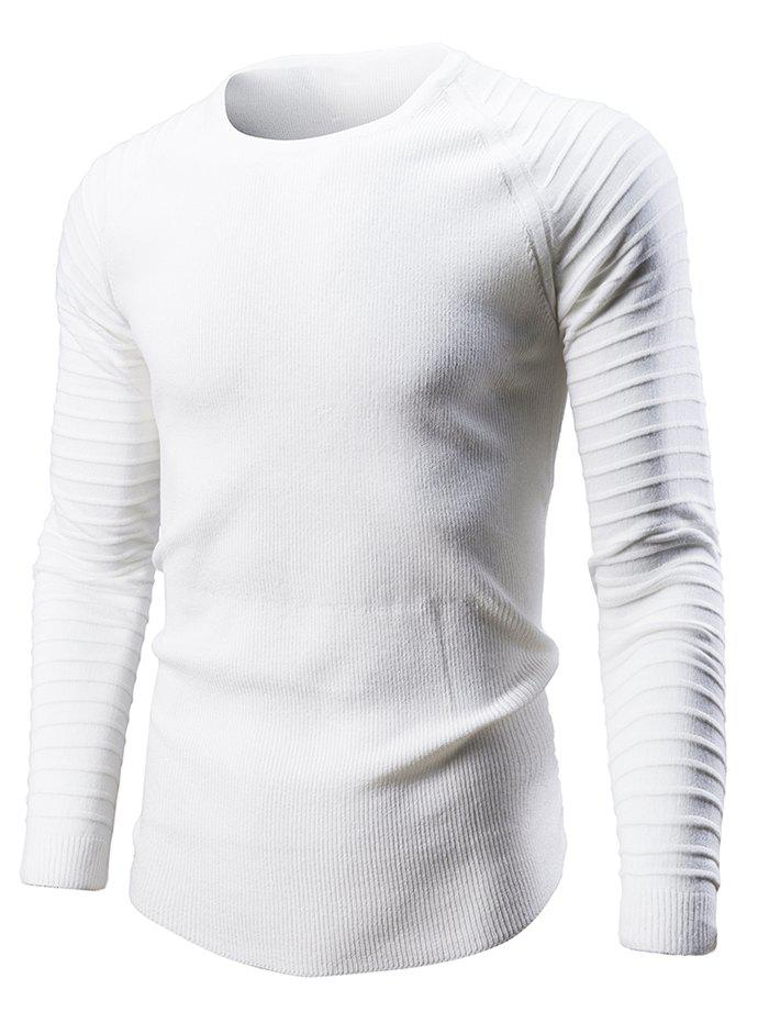 Fancy Pleated Sleeve Round Neck Sweater