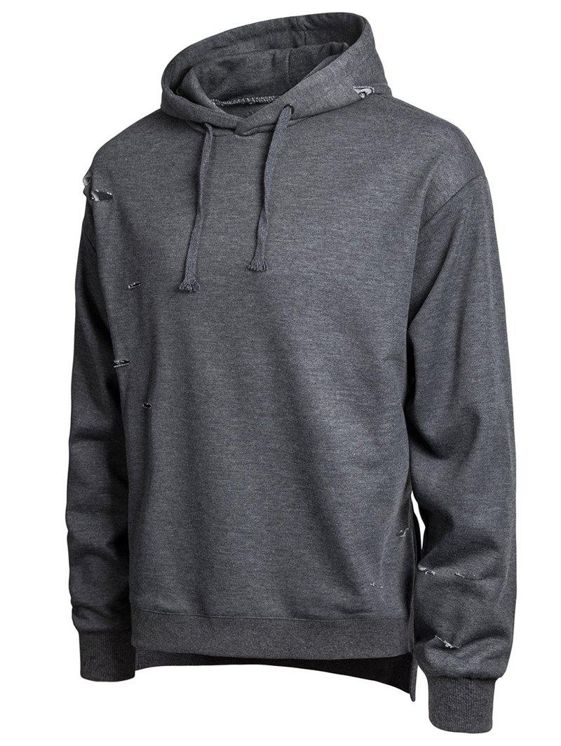 Fancy Split Hem Broken Hole Casual Hoodie
