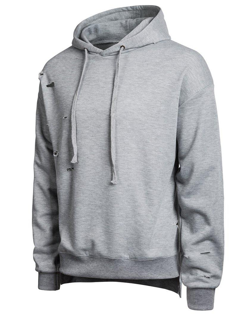 Trendy Split Hem Broken Hole Casual Hoodie