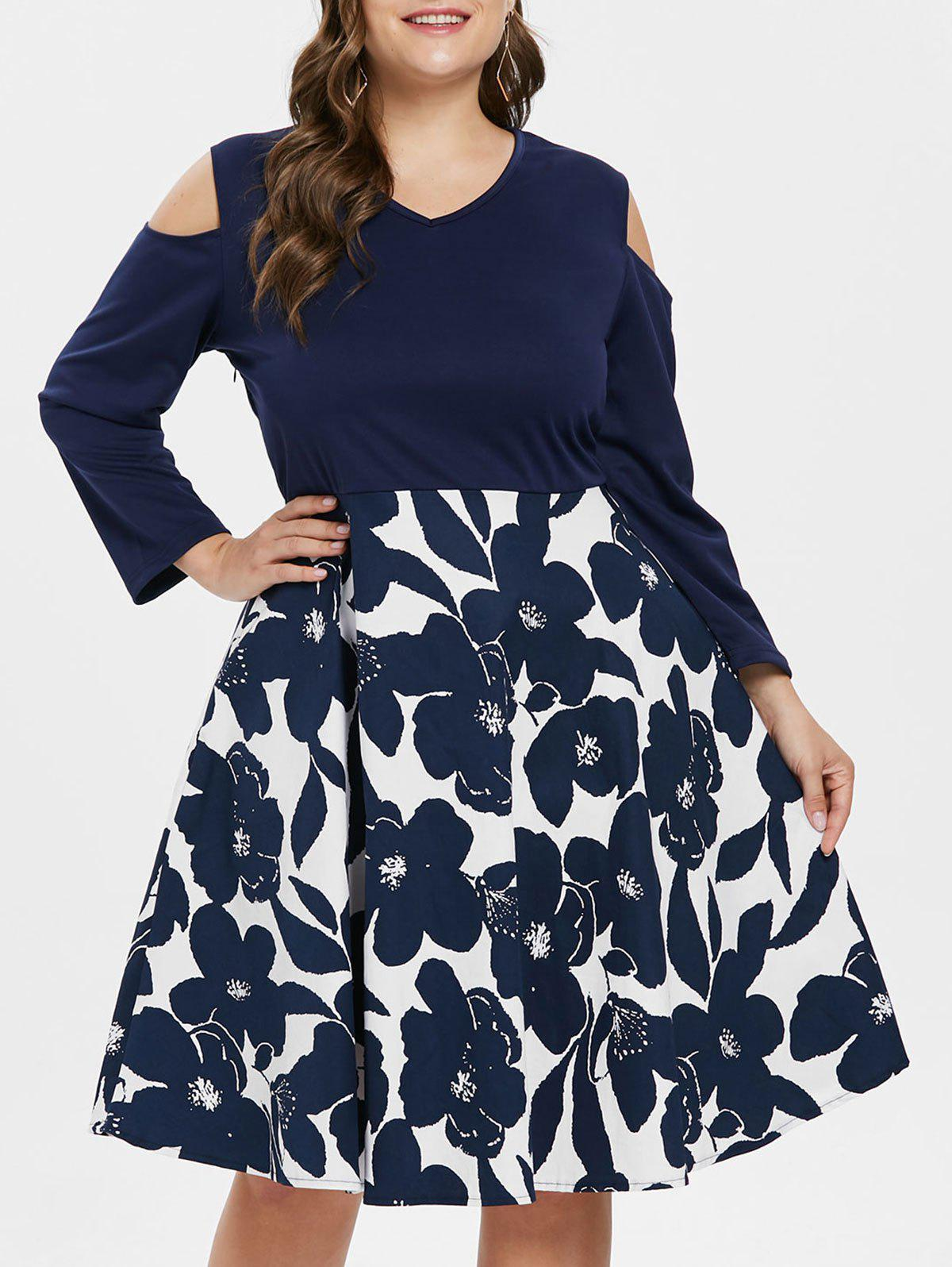 df142ed0b3af5 Outfits Plus Size Cold Shoulder Floral Print A Line Dress