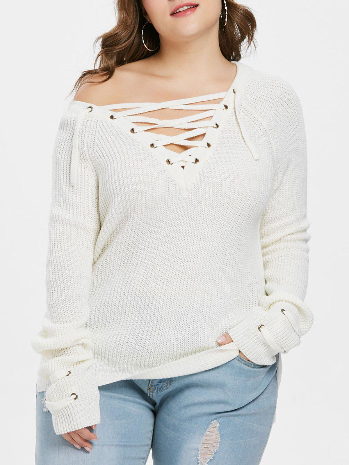Outfits Plunge Lace Up Plus Size Pullover Sweater