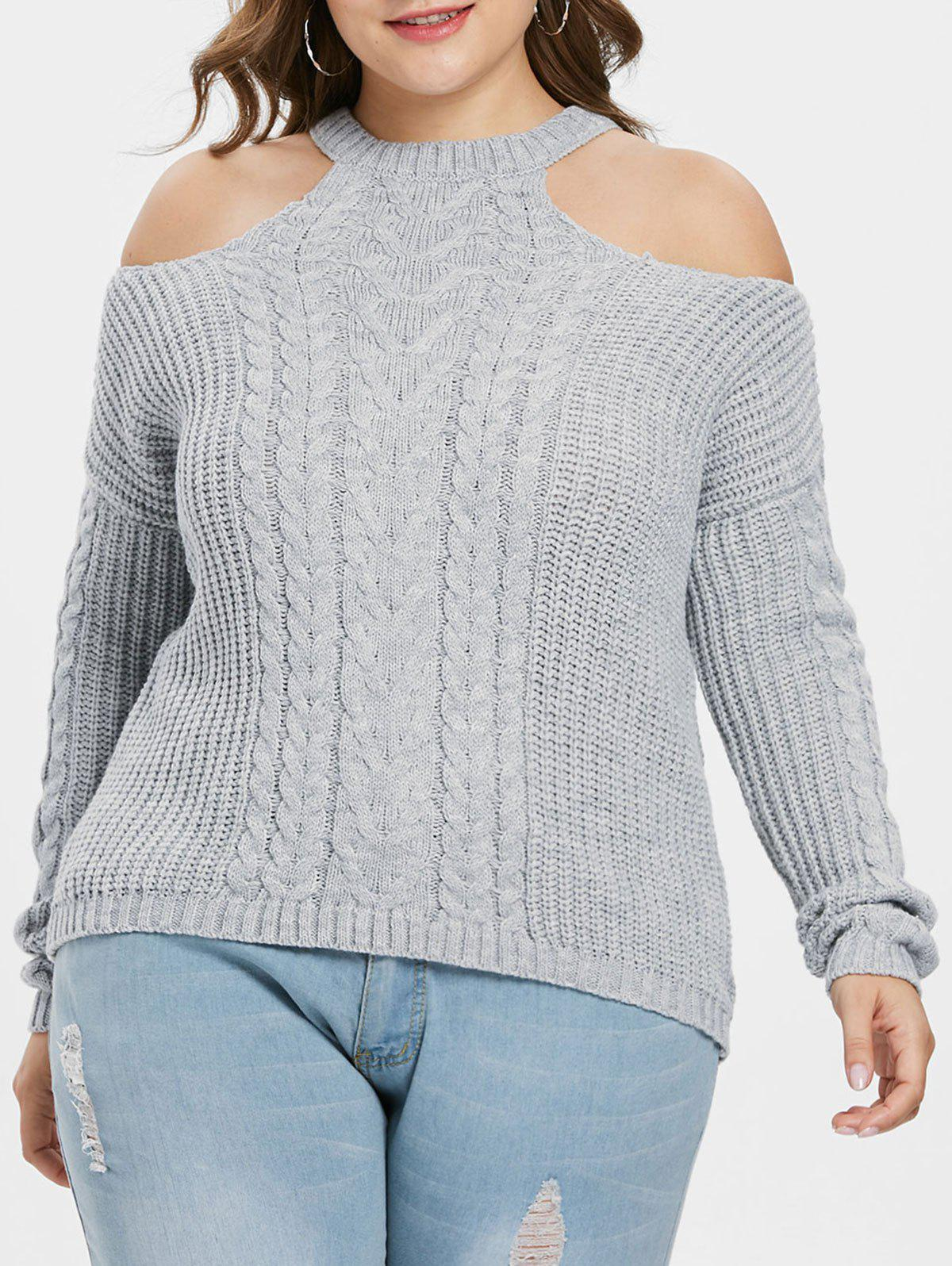 Fancy Open Shoulder Plus Size Chunky Sweater
