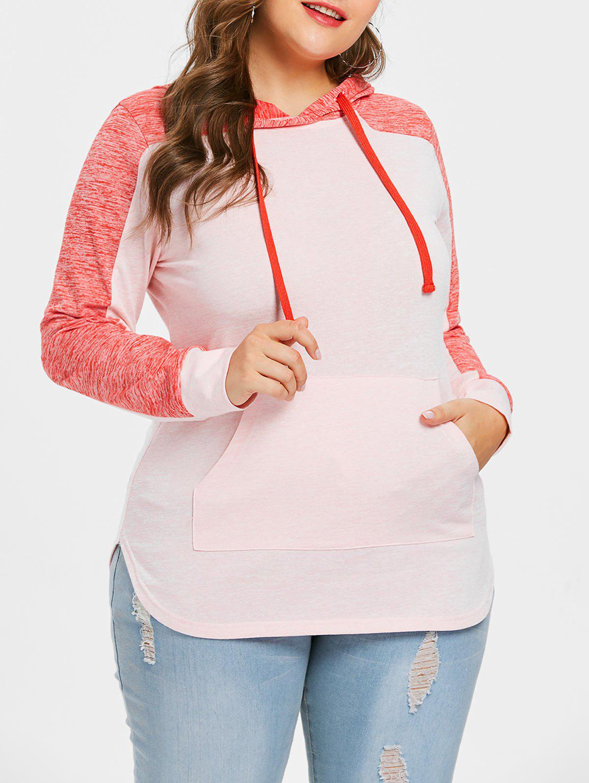 Sale Plus Size Color Block Drawstring Hoodie