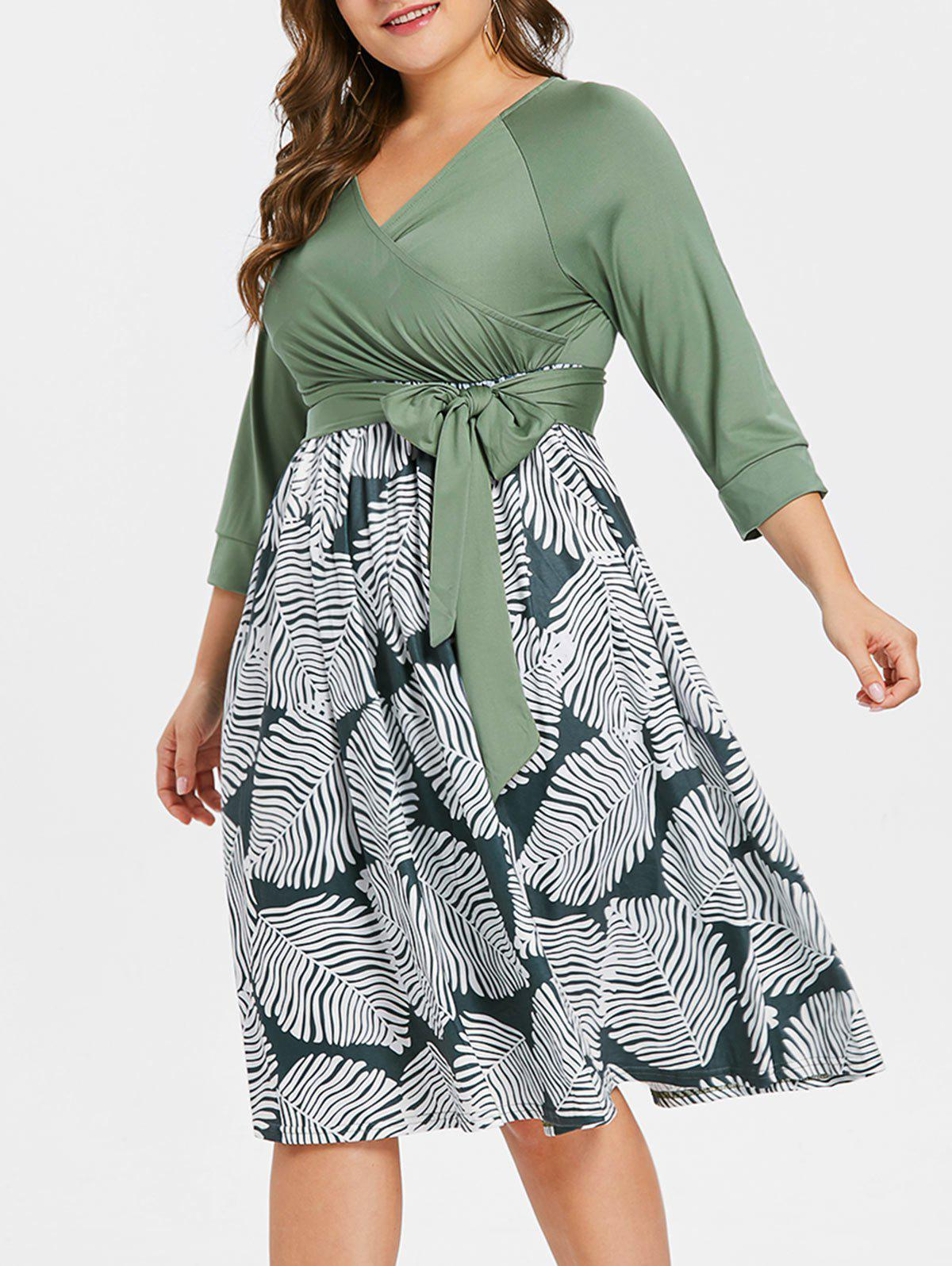 Hot Surplice Neck Plus Size Printed Dress with Belt