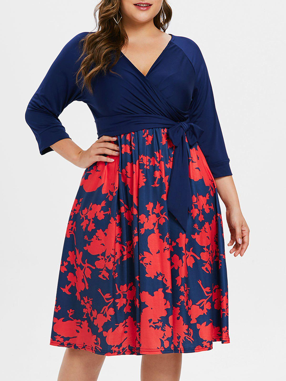 Sale Surplice Neck Plus Size Printed Dress with Belt