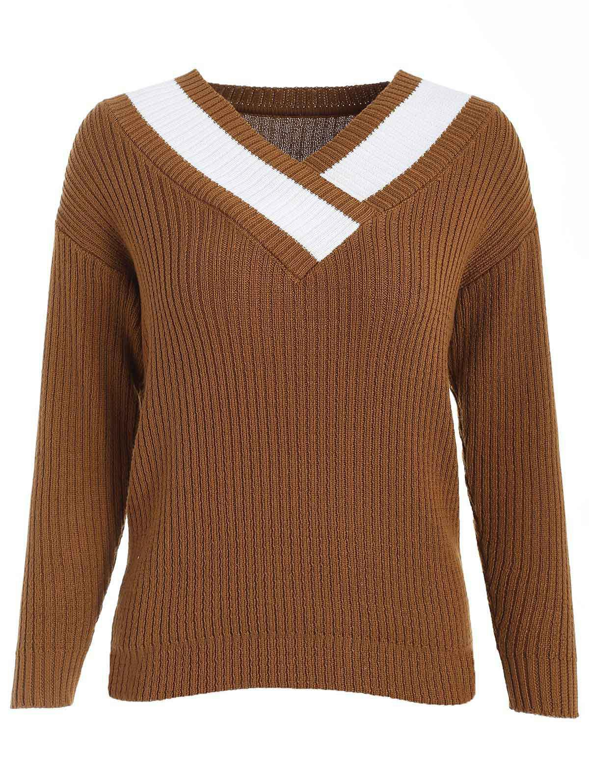 Discount Color Block V Neck Sweater