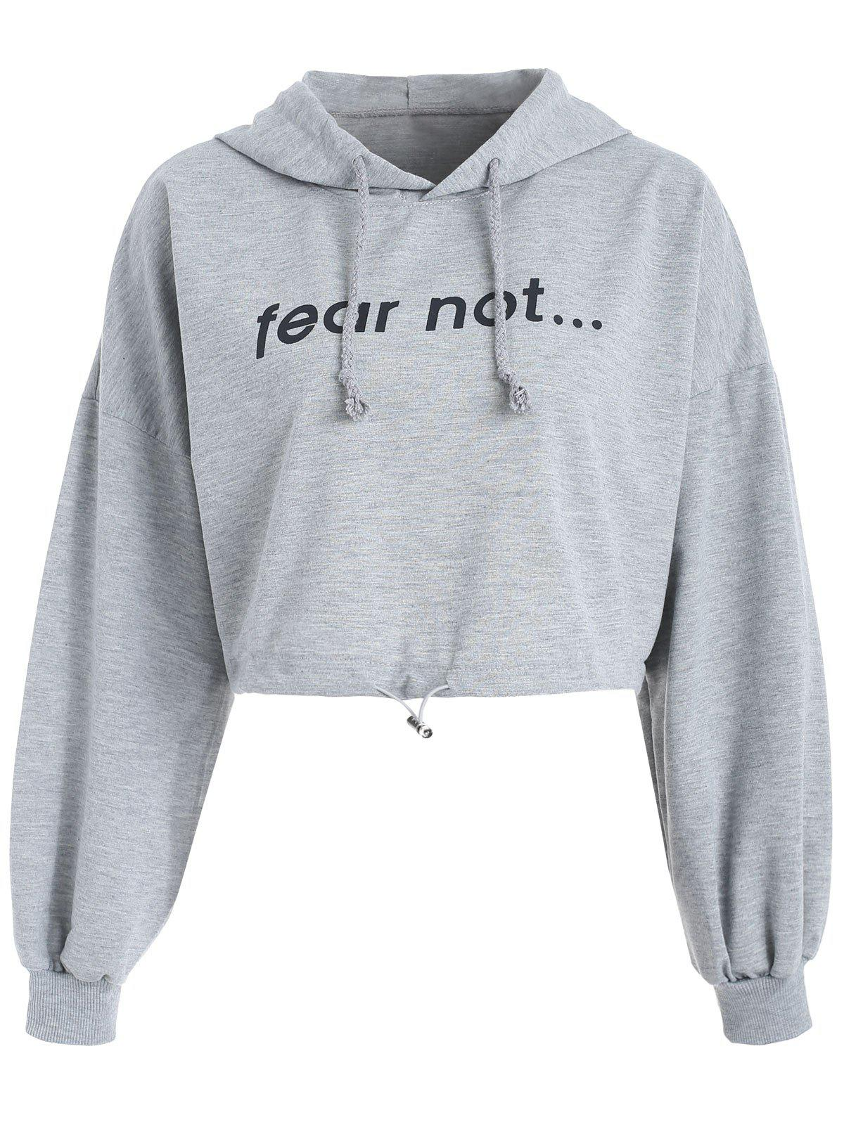 Chic Letter Print Waist Drawstring Hoodie