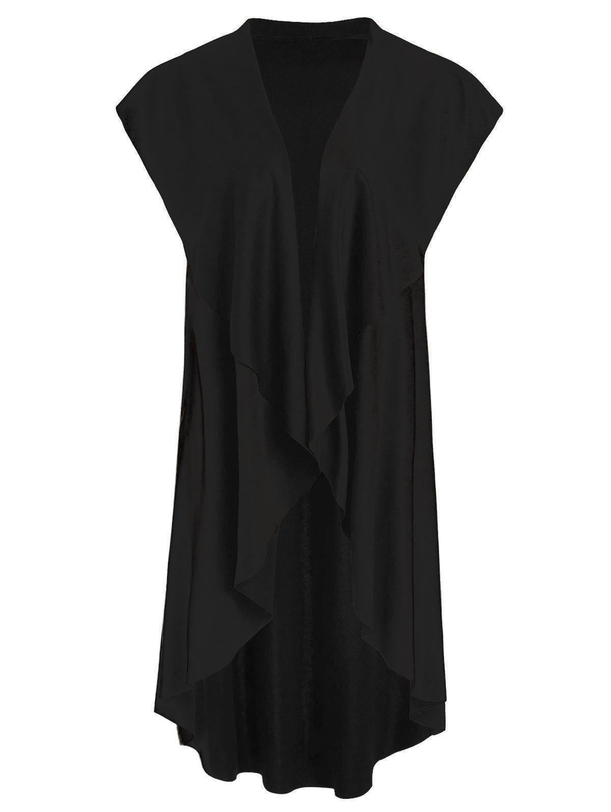 Fancy Asymmetrical Collarless Longline Vest