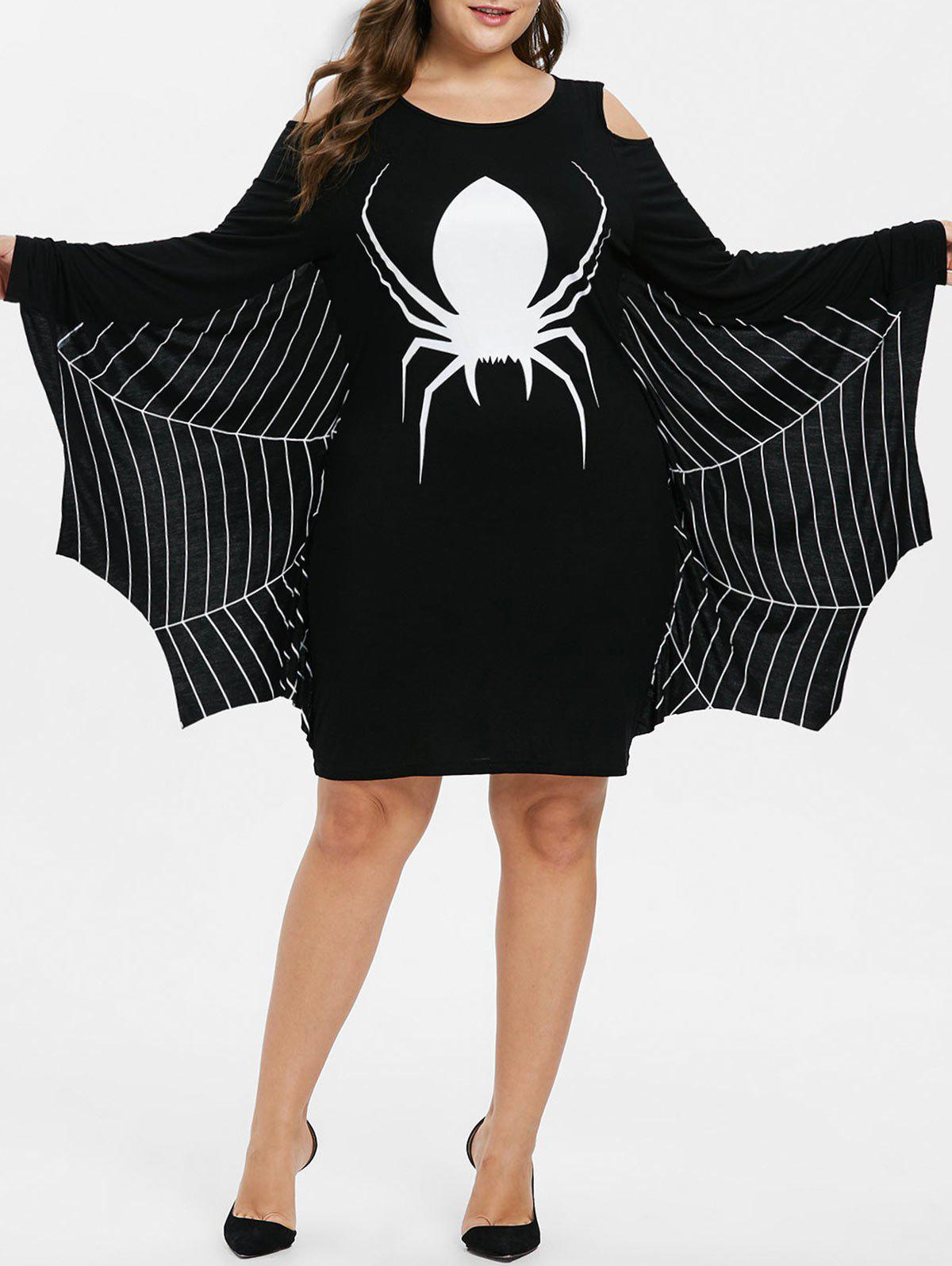 New Plus Size Halloween Spider Print Cold Shoulder Dress