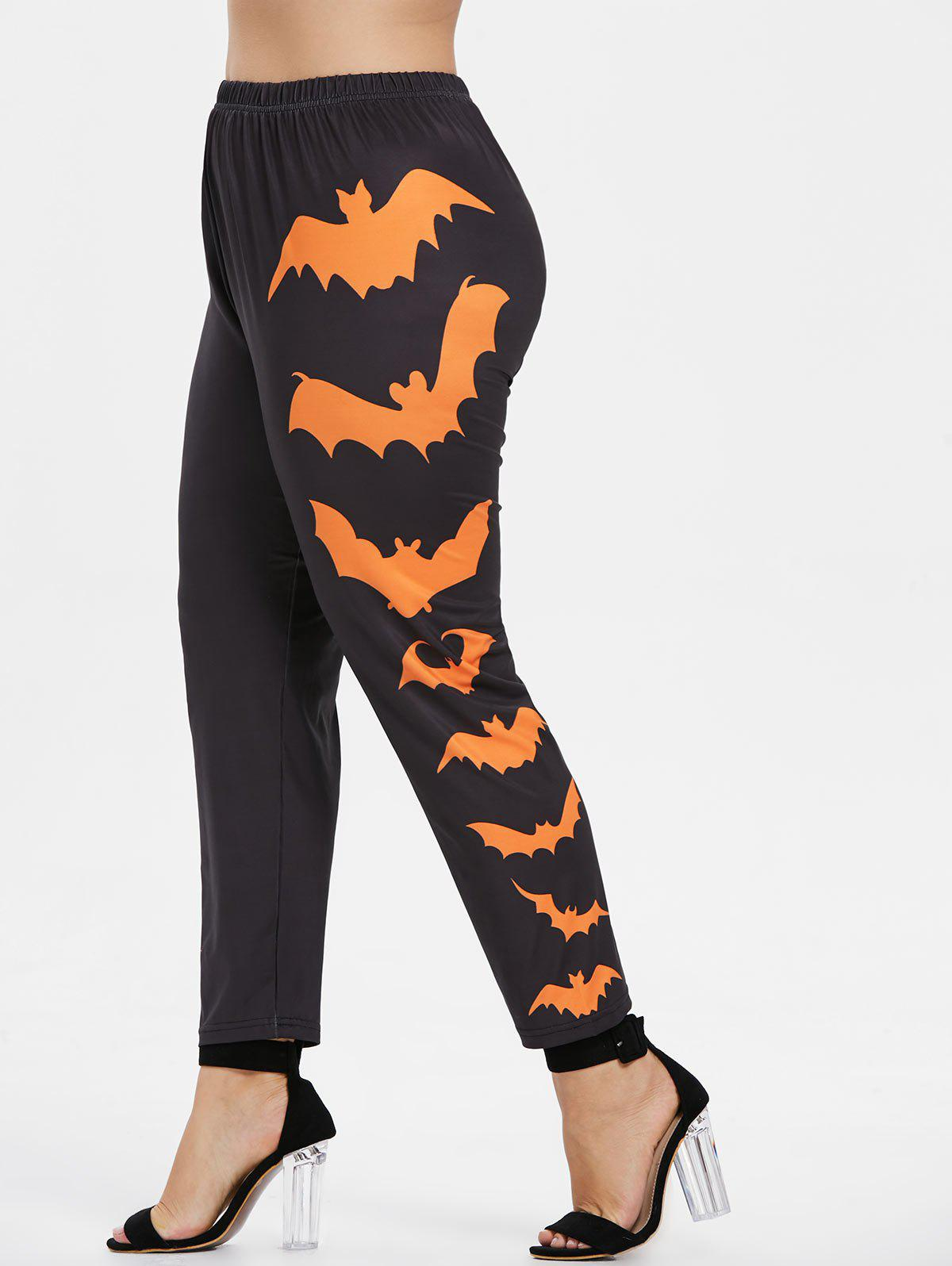 Fancy Side Bat Pattern Plus Size Elastic Waist Halloween Leggings