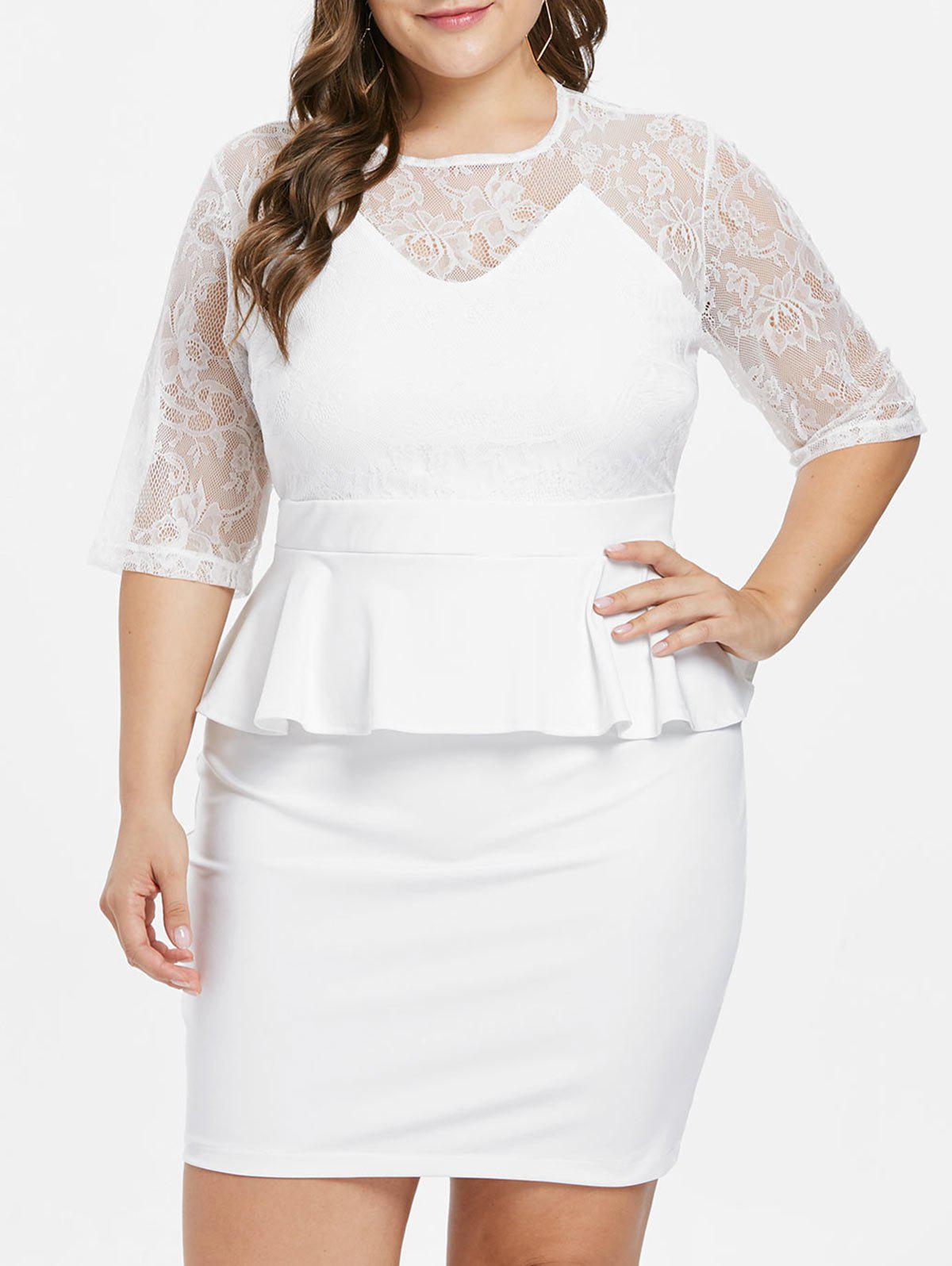 Plus Size Lace Yoke Peplum Dress