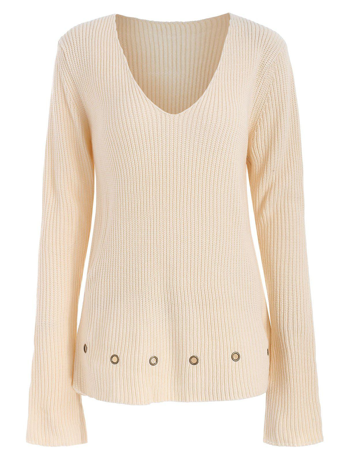 Shop Grommets Embellished Deep V Neck Sweater