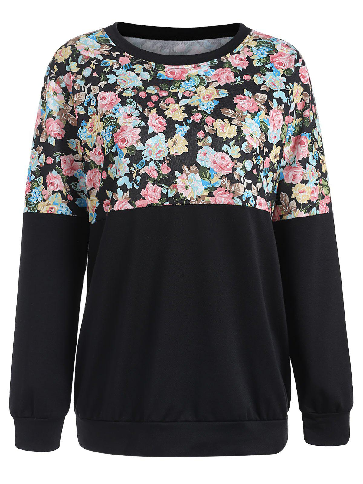 Affordable Floral Print Color Block Sweatshirt