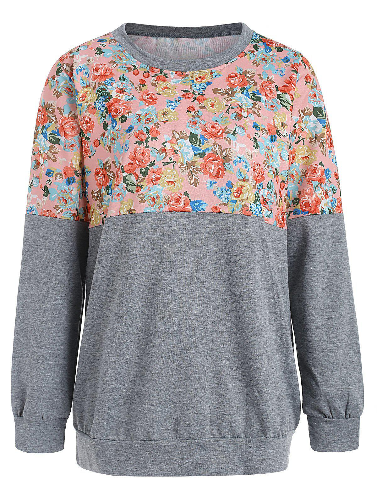 Sweat-shirt Floral Imprimé en Blocs de Couleurs