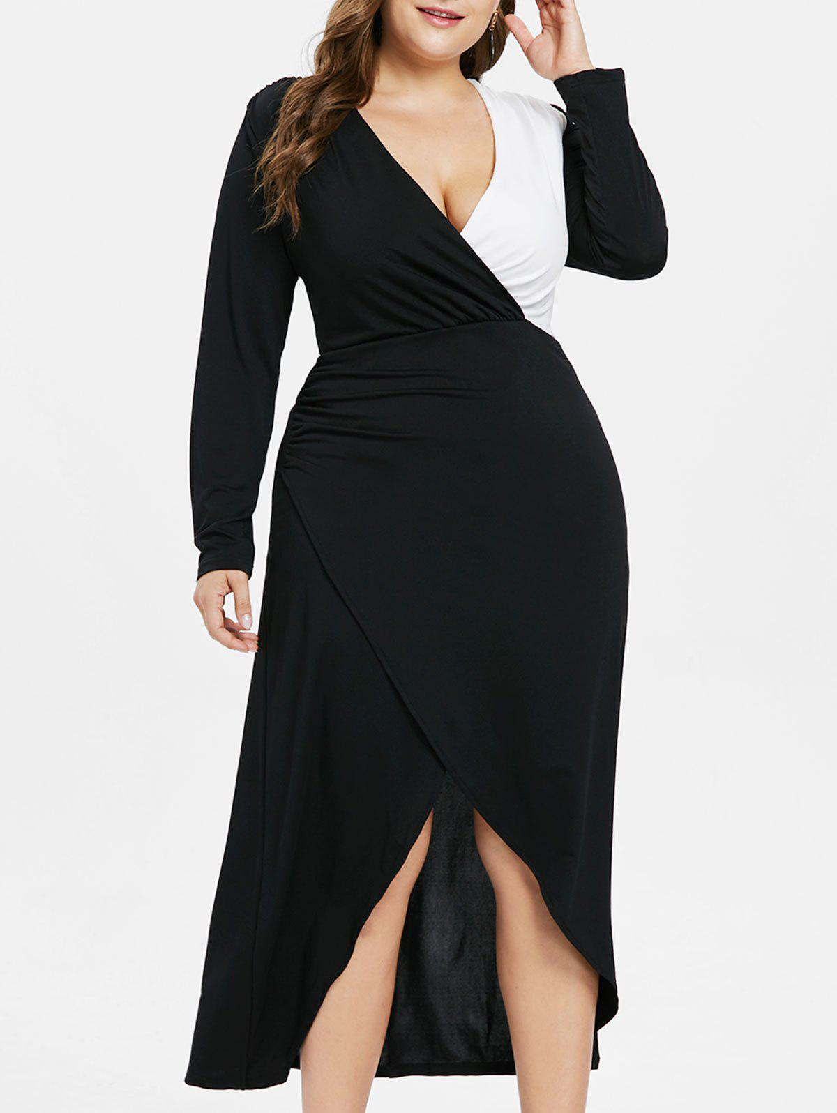 Plus Size Color Block Tiered Maxi Dress