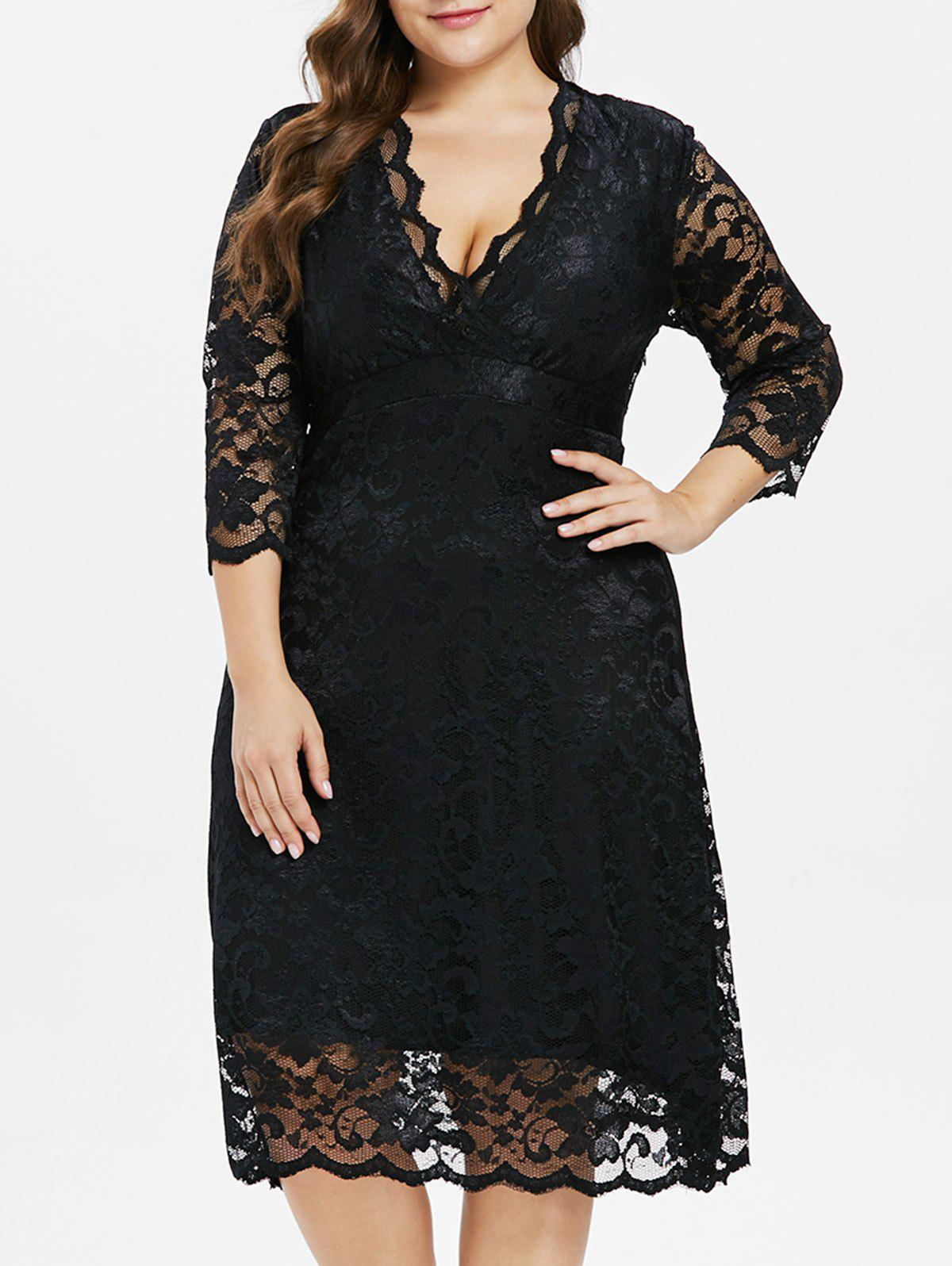 New Plus Size Plunging Neck Lace Dress