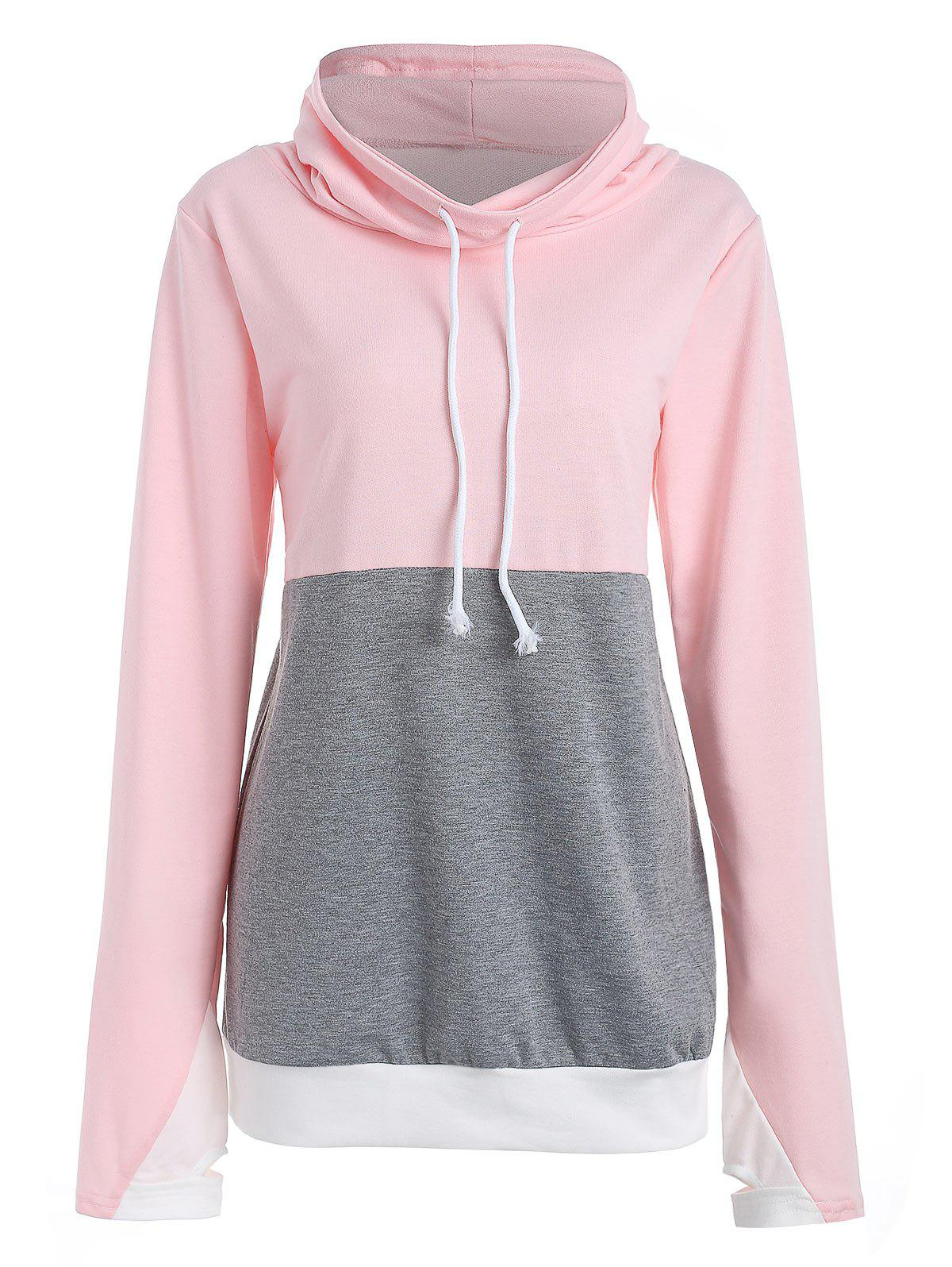 Chic Drawstring Color Block Sweatshirt