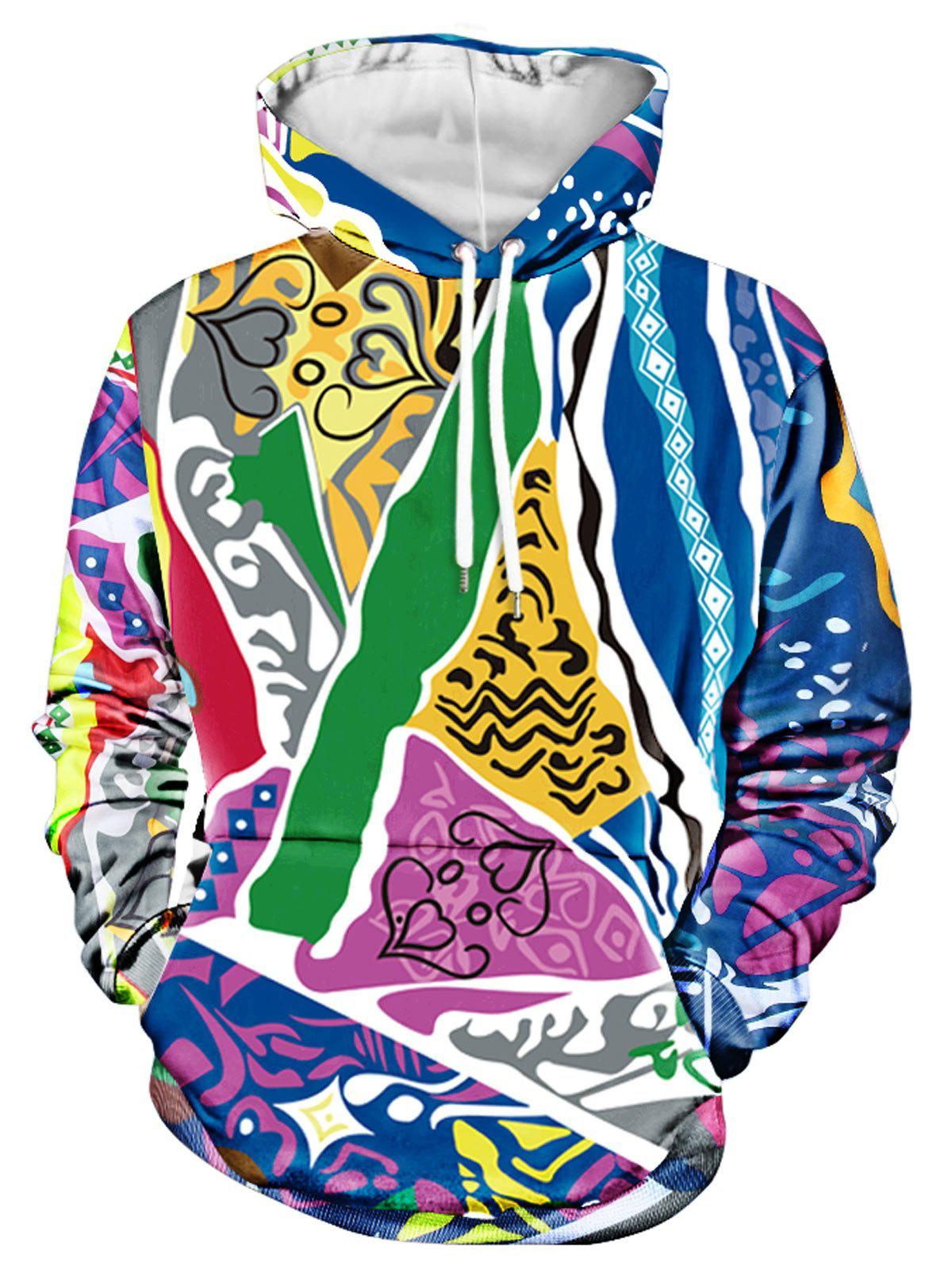 Shop Various Figures Printed Kanga Pocket Hoodie