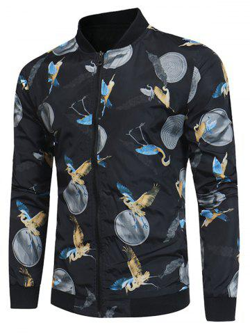 Crane Print Zip Up Baseball Jacket