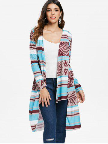 Stylish Collarless Long Sleeve Spliced Women's Desert Bloom Cardigan