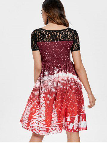 Print Lace Trim Vintage Party Dress
