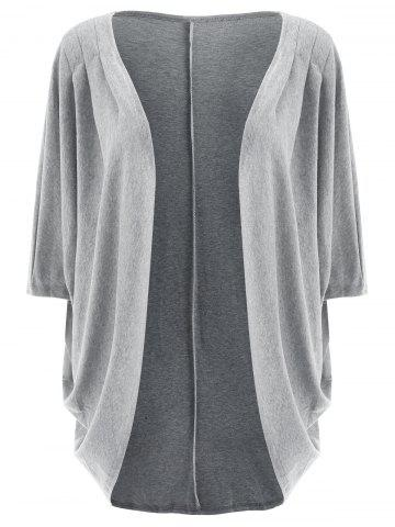 Casual Solid Color 3/4 Sleeve Loose Collarless Cardigan For Women