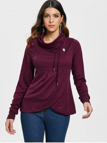Petal Hem Drawstring Embroidered Sweatshirt