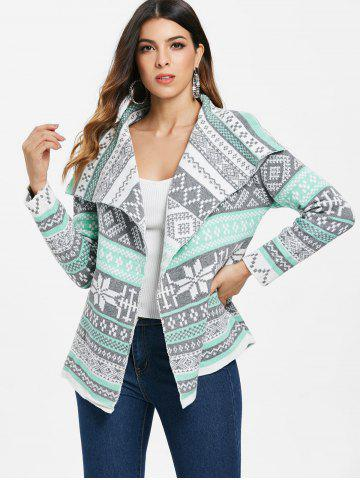 Asymmetric Long Sleeve Geometric Cardigan