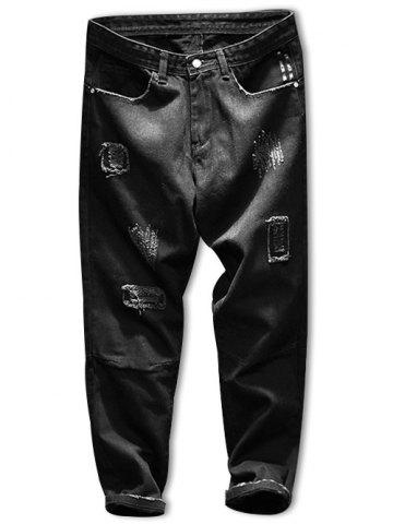 Ripped Dark Wash Zip Fly Tapered Jeans