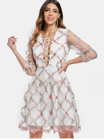 Tiny Floral Embroidery Plunging Neckline Mesh Dress