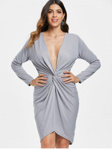 Knotted Front Full Sleeve Asymmetrical Dress