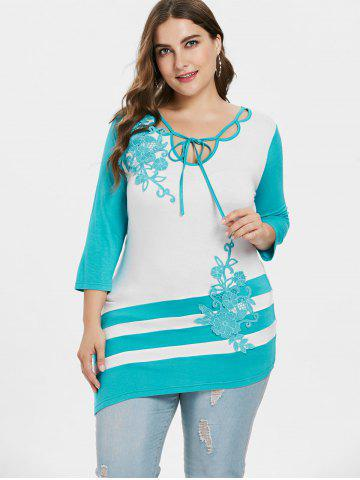 Plus Size Tie Neck Embroidery T-shirt