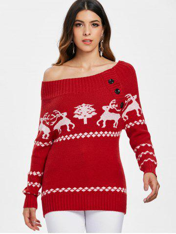 Reindeer Off The Shoulder Knit Tunic Sweater