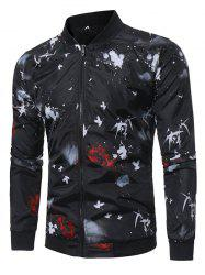 Zip Up Crane Paint Splatter Baseball Jacket -